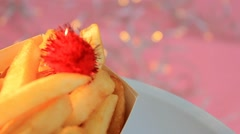 Fries - Pink Background - on plate - Focus - 05 Stock Footage