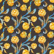 Watercolor art nouveau artichoke pattern Stock Illustration