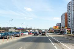 Moscow, Russia -  April 08.2016. Schelkovskoe highway passing through the town - stock photo