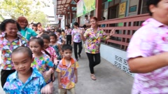 Long Drum Parade in celebrating Songkran (Thai new year / water festival) Stock Footage