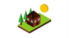 Isometric landscape design, Video Animation Stock Footage