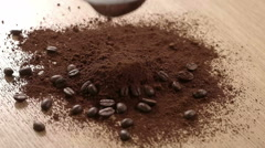 Coffee Beans on the Table Stock Footage