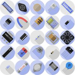 Icons of electronic components Stock Illustration