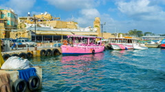 The boats in harbor of Akko Stock Footage