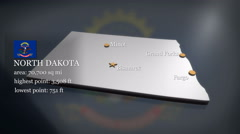 3D animated Map of North Dakota Stock Footage