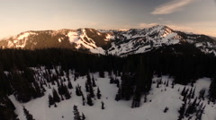 Aerial View: Reveal of The Washington Cascades & Stevens Pass Stock Footage