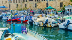The time-lapse of busy harbor during day off in Akko. Stock Footage
