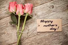 Mothers day card with roses - stock photo