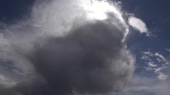 Dark Cloud Slips Through Blue Sky Reveals Sun Star Stock Footage