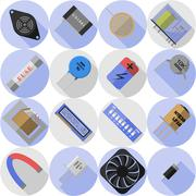 set electronic component - stock illustration