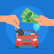 Car sale vector illustration. Customer buying automobile from dealer concept - stock illustration