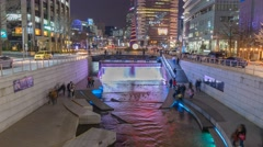 Timelapse at Cheonggyecheon Stream by night, Seoul, South Korea, 4K Time lapse Stock Footage