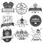 Vector set of circus and carnival labels in vintage style. Design elements - stock illustration