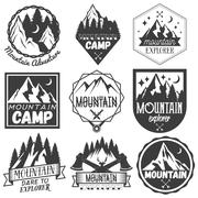 Vector set of mountain camp labels in vintage style. Camp outdoor adventure Piirros