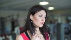 Beautiful girl running on a treadmill Stock Footage