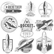 Vector set of rocket launch labels in vintage style. Space exploration concept Stock Illustration