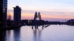 Berlin Landmark Time-lapse - River Spree Berlin Skyline at Dusk - HD Timelapse Stock Footage