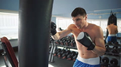 Boxer training in the gym Stock Footage