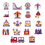 Amusement Park Icons Set Stock Illustration