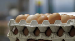 Transportation Eggs for automated sorting Stock Footage