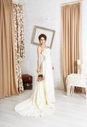 Beautiful young bride in champagne wedding dress Stock Photos