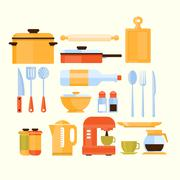 Kitchen Equipment Collection Of Icons - stock illustration