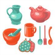 The dishes in the kitchen - stock illustration