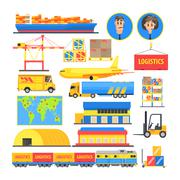 Logistic Elements Colorful Infographic - stock illustration