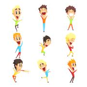 Stock Illustration of Caucasian Male Character Rejoicing Set