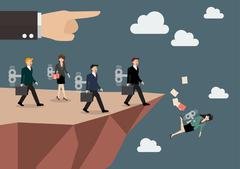 Mechanical business men and women walk straight into the abyss Stock Illustration
