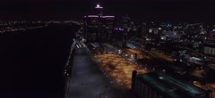 Nighttime Detroit Downtown Aerial View Stock Footage