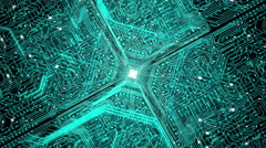 Stock Video Footage of Data stream, transfer, communications. Abstract circuit board with chip.