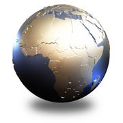 Africa on metallic Earth - stock illustration