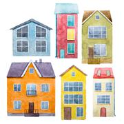 Watercolor hand drawn houses Stock Illustration