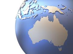 Australia on metallic Earth - stock illustration