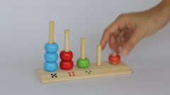Demonstration of colorful backgammon wooden toy - stock footage