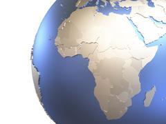 Africa on metallic Earth Stock Illustration