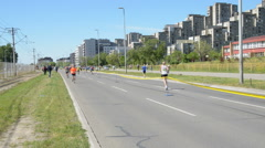 Runners During Marathon Race Stock Footage