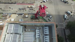 Truck Crane Aerial Drone Footage Stock Footage