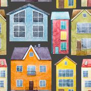 Watercolor houses pattern Stock Illustration