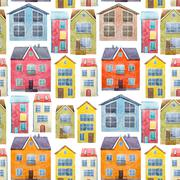 Watercolor houses pattern - stock illustration
