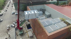 Truck Crane Aerial Drone View Stock Footage