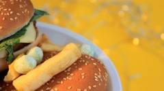 Hamburger - Yellow Background - Turning - Focus - 07 Stock Footage