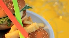 Hamburger - Yellow Background - Turning - Focus - 06 Stock Footage