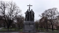Camera move closer and look up to Monument to Cyril and Methodius Stock Footage