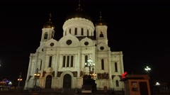 Tallest Orthodox Christian church, Cathedral of Christ the Saviou at night time Stock Footage