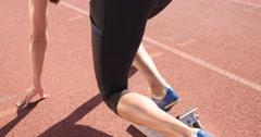 Athlete woman starting running Stock Footage