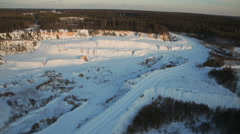 aerial view abandoned place of mining of crushed stone - stock footage