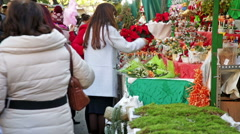 Traditional Christmas fair near Cathedral   in  Barcelona, Catalonia. Stock Footage