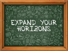 Expand Your Horizons - Hand Drawn on Green Chalkboard - stock illustration